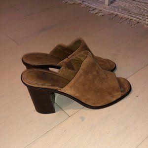 Frye Suede Block Heel Mules